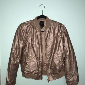 FOREVER 21 Rose Gold Metallic Bomber Jacket